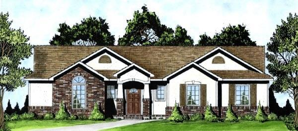 Bungalow, One-Story House Plan 62552 with 3 Beds, 2 Baths, 2 Car Garage Elevation