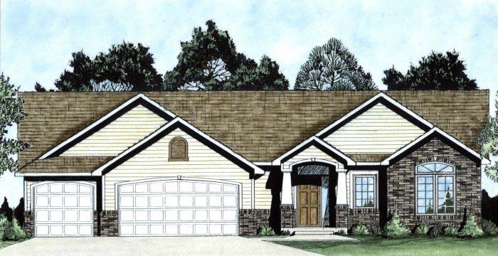 Traditional House Plan 62643 with 3 Beds, 3 Baths, 3 Car Garage Elevation