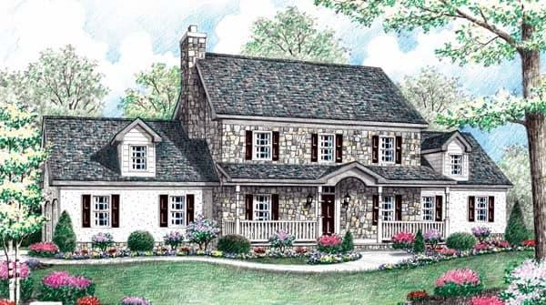 Farmhouse House Plan 64404 with 5 Beds, 3 Baths, 2 Car Garage Elevation