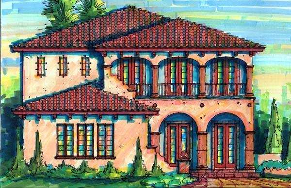 European House Plan 64723 with 4 Beds, 5 Baths, 3 Car Garage Elevation