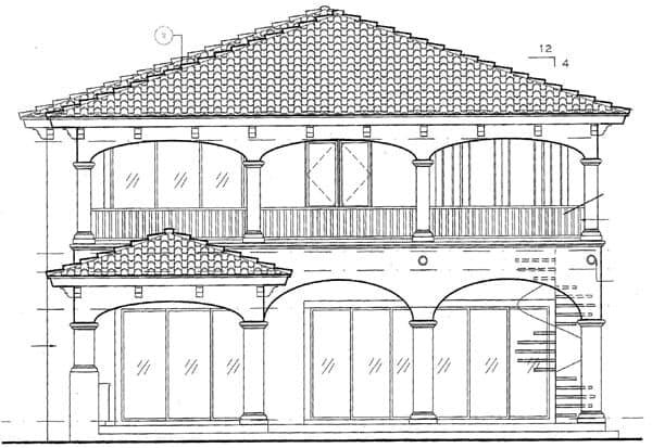 European House Plan 64723 with 4 Beds, 5 Baths, 3 Car Garage Rear Elevation