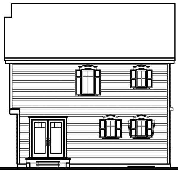 House Plan 64945 with 3 Beds, 1 Baths Rear Elevation