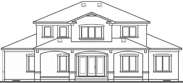 Florida House Plan 64984 with 6 Beds, 5 Baths, 2 Car Garage Rear Elevation