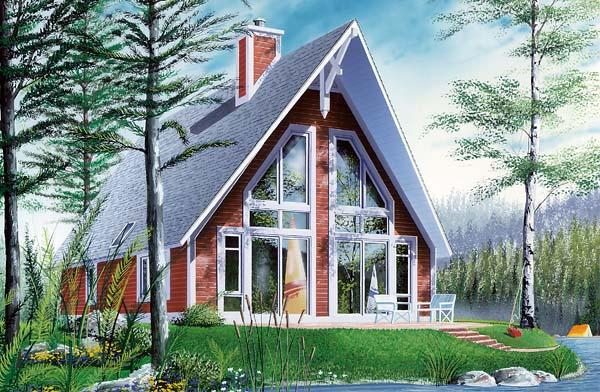 A-Frame, Contemporary House Plan 65010 with 2 Beds, 1 Baths Elevation