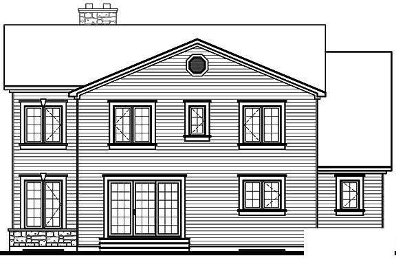 Traditional House Plan 65113 with 4 Beds, 4 Baths, 2 Car Garage Rear Elevation