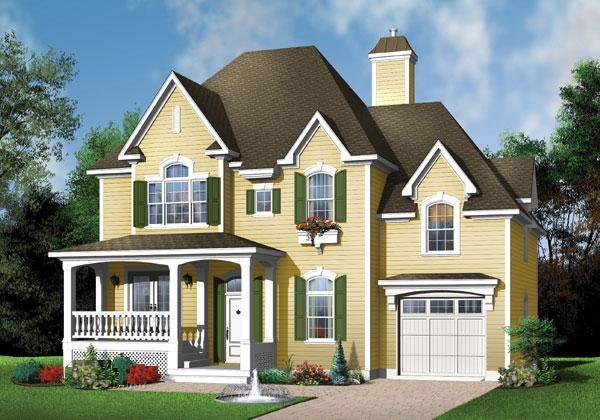 Narrow Lot, Victorian House Plan 65360 with 3 Beds, 3 Baths, 1 Car Garage Elevation