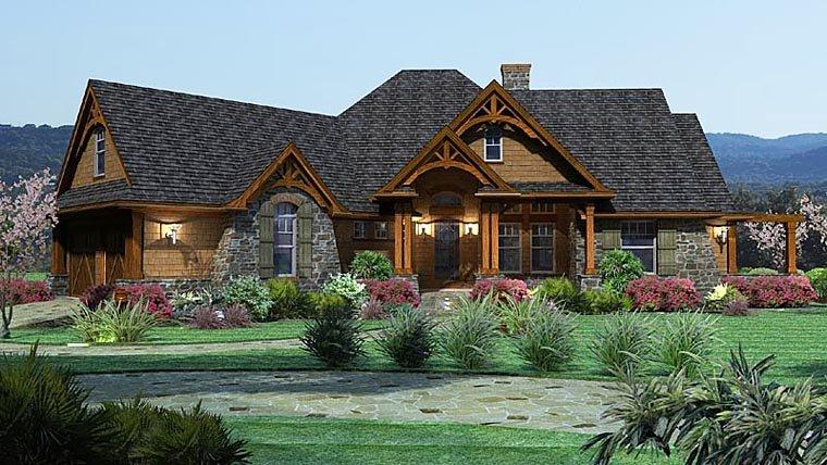 Cottage, Craftsman, Tuscan House Plan 65862 with 3 Beds, 3 Baths, 2 Car Garage Elevation