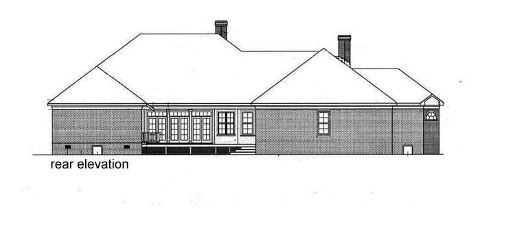 Country, One-Story House Plan 65913 with 4 Beds, 5 Baths, 3 Car Garage Rear Elevation