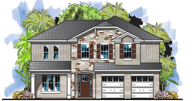 Traditional House Plan 66919 with 4 Beds, 4 Baths, 2 Car Garage Elevation