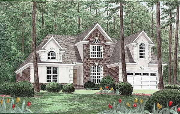 Traditional House Plan 67038 with 3 Beds, 3 Baths, 2 Car Garage Elevation