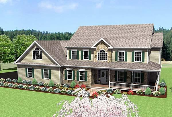 Farmhouse House Plan 67288 with 3 Beds, 3 Baths, 2 Car Garage Elevation