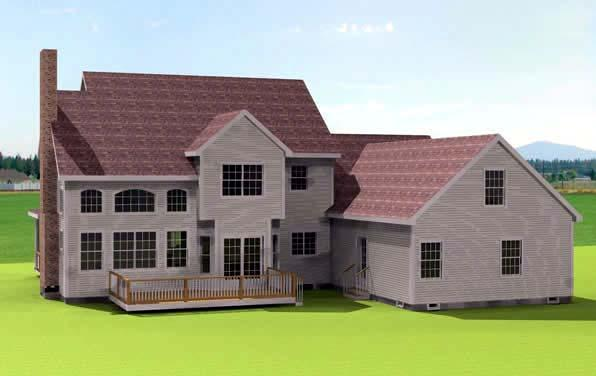 Traditional House Plan 67308 with 4 Beds, 3 Baths, 3 Car Garage Rear Elevation
