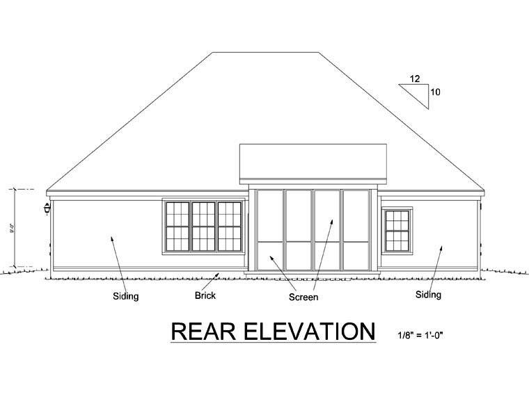 Traditional House Plan 67880 with 4 Beds, 2 Baths, 2 Car Garage Rear Elevation