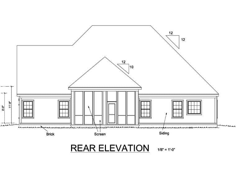 European House Plan 67884 with 4 Beds, 3 Baths, 3 Car Garage Rear Elevation