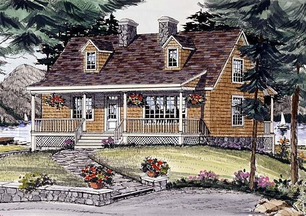 Cape Cod, Country House Plan 69506 with 3 Beds, 3 Baths, 2 Car Garage Elevation