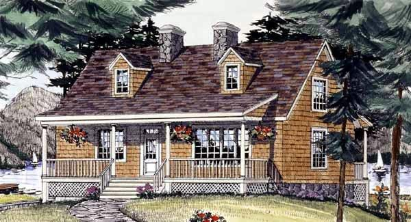 Cape Cod, Country House Plan 69515 with 3 Beds, 3 Baths, 2 Car Garage Elevation
