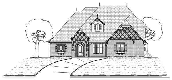 European, Traditional, Tudor House Plan 69935 with 4 Beds, 4 Baths, 3 Car Garage Elevation