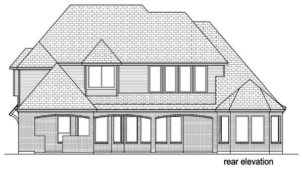 European, Traditional, Tudor House Plan 69935 with 4 Beds, 4 Baths, 3 Car Garage Rear Elevation