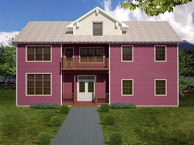 House Plan 71904 with 3 Beds, 3 Baths, 3 Car Garage Rear Elevation