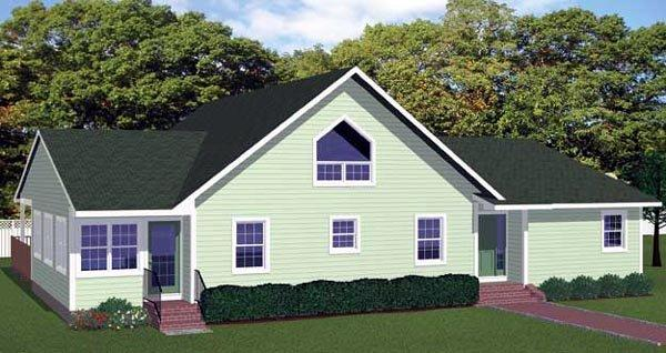 Cottage, Country House Plan 71910 with 3 Beds, 2 Baths Rear Elevation