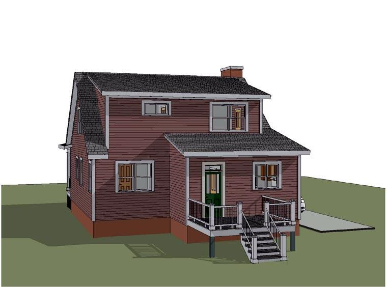 Bungalow House Plan 72750 with 3 Beds, 3 Baths Rear Elevation