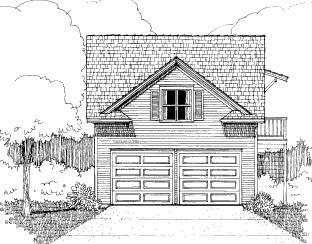 Bungalow 2 Car Garage Apartment Plan 72784 with 1 Beds, 1 Baths Elevation