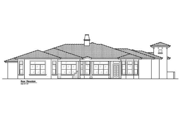 Mediterranean, Southwest House Plan 74238 with 5 Beds, 5 Baths, 4 Car Garage Rear Elevation