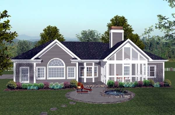 Craftsman, Ranch House Plan 74811 with 3 Beds, 4 Baths, 3 Car Garage Rear Elevation