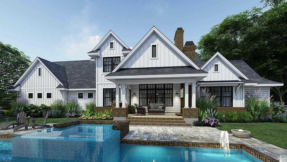 Country, Farmhouse House Plan 75164 with 4 Beds, 4 Baths, 3 Car Garage Rear Elevation