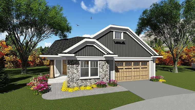 Cottage, Country House Plan 75284 with 2 Beds, 2 Baths, 2 Car Garage Elevation