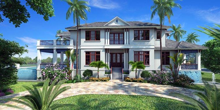 Florida, Mediterranean House Plan 75911 with 5 Beds, 6 Baths, 3 Car Garage Elevation