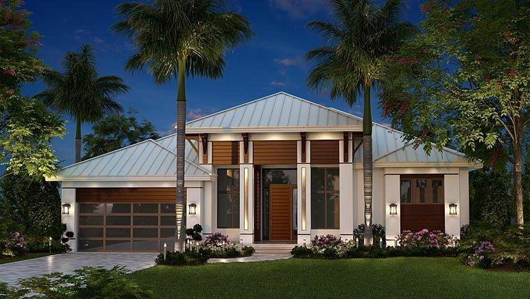 Coastal, Contemporary, Florida House Plan 75989 with 3 Beds, 3 Baths, 2 Car Garage Elevation