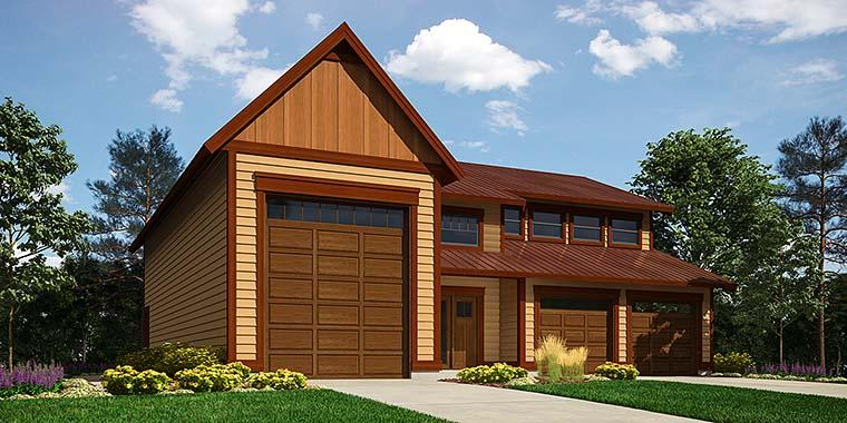 Contemporary, Traditional 3 Car Garage Apartment Plan 76061 with 1 Beds, 2 Baths, RV Storage Elevation