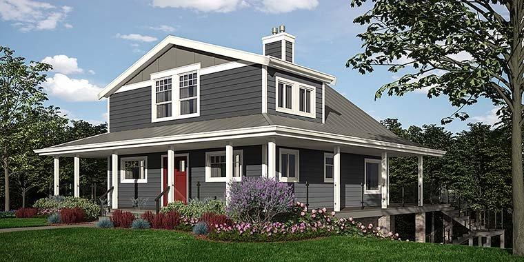 Cabin, Coastal, Cottage, Country House Plan 76066 with 4 Beds, 3 Baths Elevation