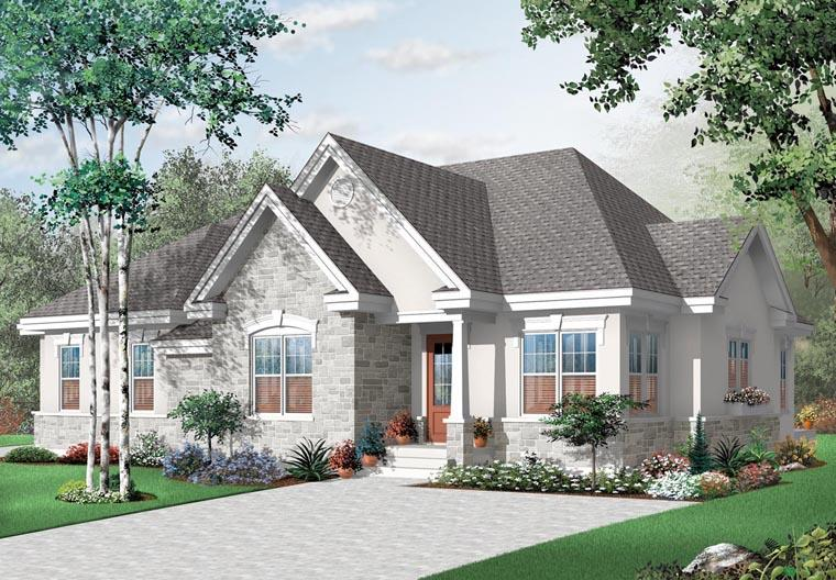 European House Plan 76175 with 4 Beds, 2 Baths Elevation