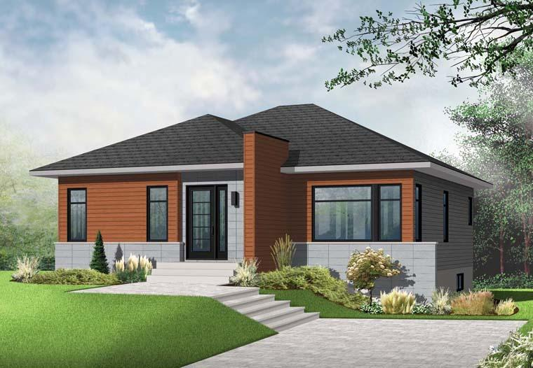 Contemporary, Modern House Plan 76346 with 2 Beds, 1 Baths Elevation
