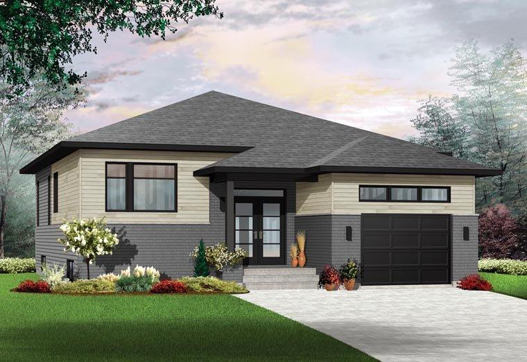 Contemporary House Plan 76389 with 2 Beds, 1 Baths, 1 Car Garage Elevation