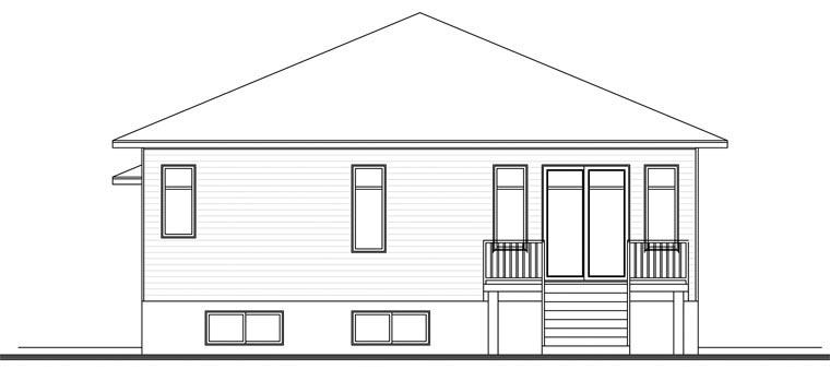 Contemporary House Plan 76389 with 2 Beds, 1 Baths, 1 Car Garage Rear Elevation