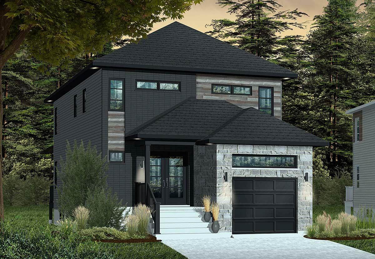 Contemporary, Modern House Plan 76412 with 3 Beds, 3 Baths, 1 Car Garage Elevation