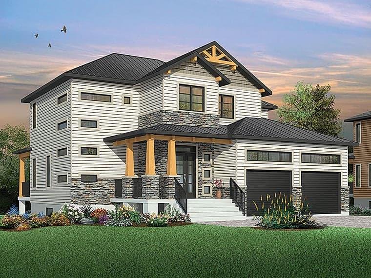 Contemporary, Craftsman, Modern House Plan 76419 with 4 Beds, 3 Baths, 2 Car Garage Elevation