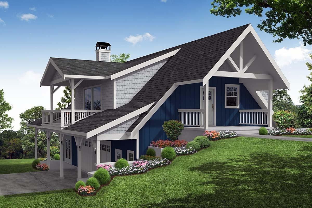 Cottage, Craftsman House Plan 78401 with 1 Beds, 2 Baths, 2 Car Garage Elevation