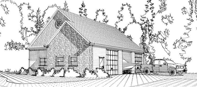 3 Car Garage Plan 78660 with 1 Beds Elevation