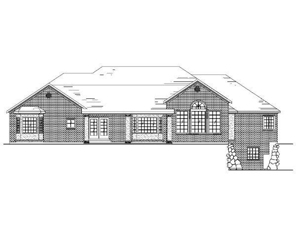 European House Plan 79862 with 5 Beds, 4 Baths, 3 Car Garage Rear Elevation