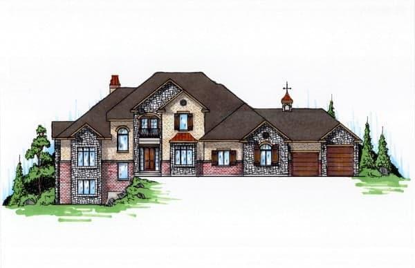 European House Plan 79939 with 6 Beds, 4 Baths, 3 Car Garage Elevation
