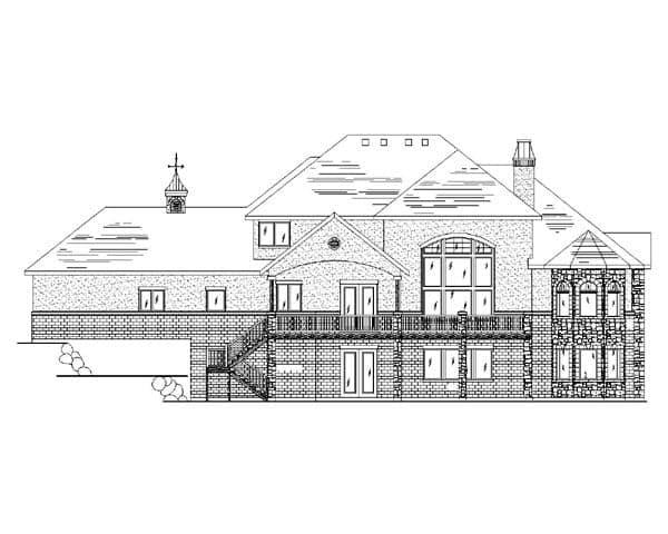 European House Plan 79939 with 6 Beds, 4 Baths, 3 Car Garage Rear Elevation