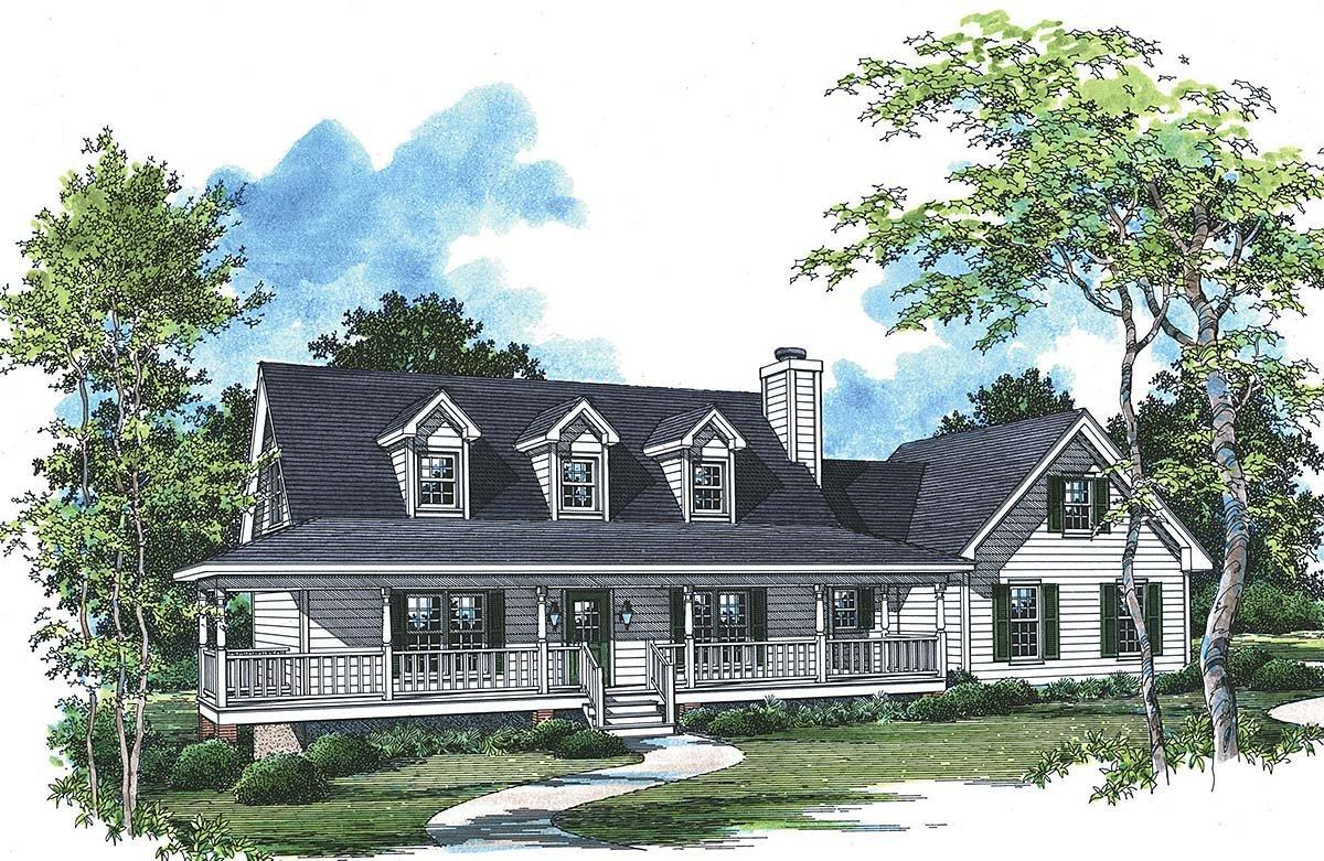 Country, Farmhouse, Southern House Plan 80264 with 3 Beds, 3 Baths, 3 Car Garage Elevation