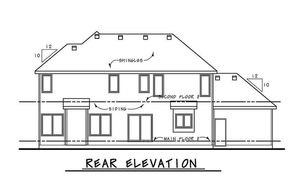 Craftsman House Plan 80441 with 4 Beds, 4 Baths, 3 Car Garage Rear Elevation
