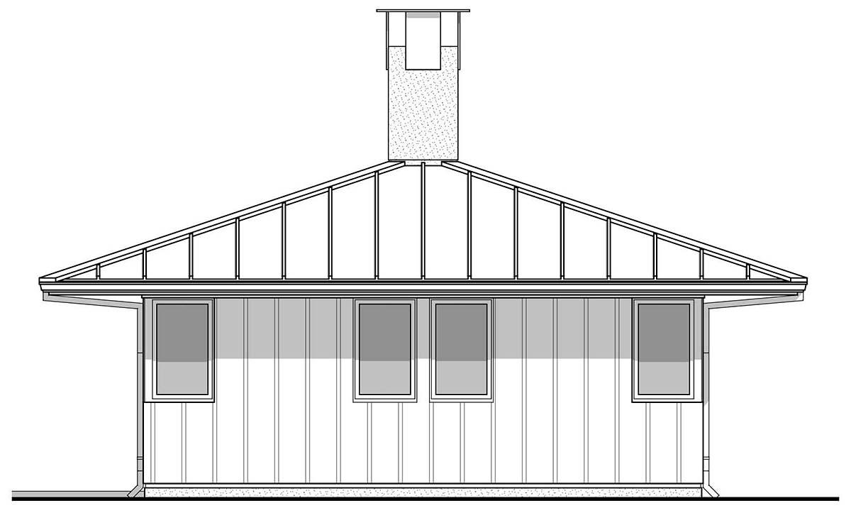 Cabin, Modern House Plan 80503 with 2 Beds, 1 Baths Rear Elevation