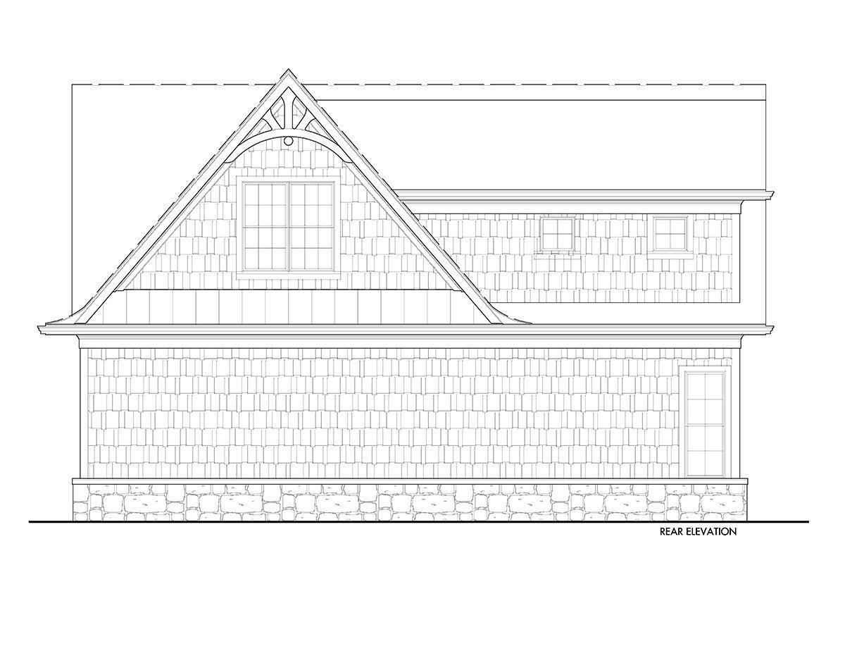 Craftsman, European, French Country 3 Car Garage Plan 80737 Rear Elevation