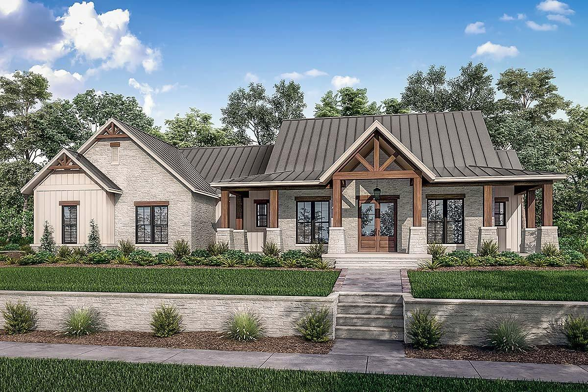 Country, Farmhouse, Traditional House Plan 80801 with 3 Beds, 3 Baths, 3 Car Garage Elevation
